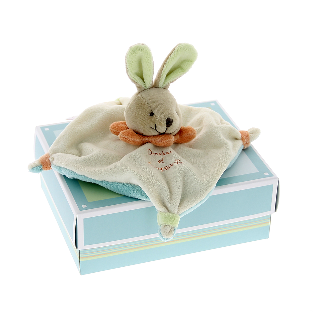 Doudou plat lapin vert mynoors for Cerco in regalo tutto per bambini